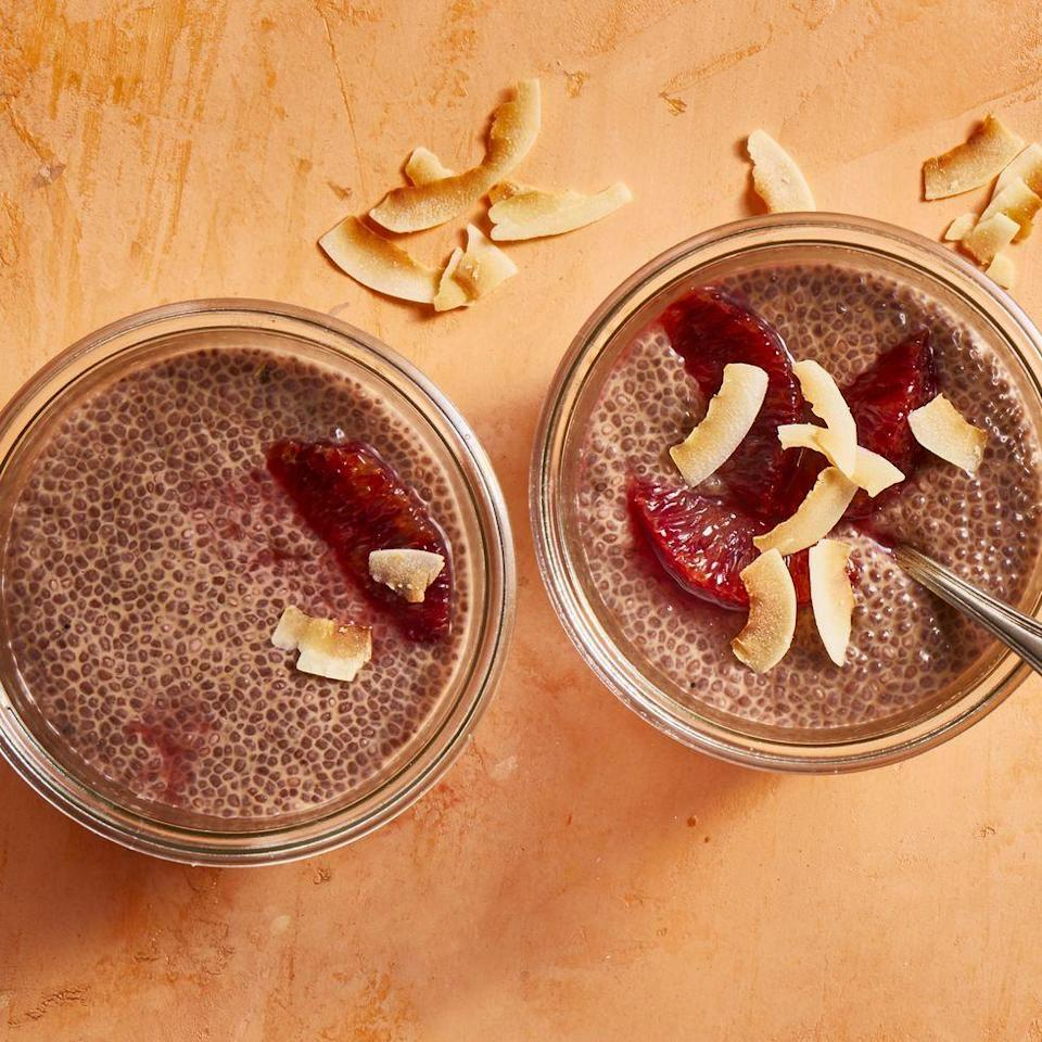 """<p>Here's a bonus: This easy vegan dessert doubles as breakfast!</p><p><em><a href=""""https://www.prevention.com/food-nutrition/recipes/a34873977/blood-orange-coconut-chia-pudding-recipe/"""" rel=""""nofollow noopener"""" target=""""_blank"""" data-ylk=""""slk:Get the recipe from Prevention »"""" class=""""link rapid-noclick-resp"""">Get the recipe from Prevention »</a></em></p><p><strong>RELATED: </strong><a href=""""https://www.goodhousekeeping.com/food-recipes/easy/g871/quick-breakfasts/"""" rel=""""nofollow noopener"""" target=""""_blank"""" data-ylk=""""slk:30 Quick and Easy Breakfast Ideas for Your Busiest Mornings"""" class=""""link rapid-noclick-resp"""">30 Quick and Easy Breakfast Ideas for Your Busiest Mornings</a><br></p>"""