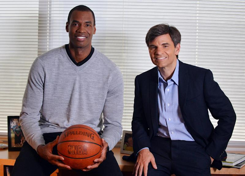In this photo provided by ABC, NBA basketball veteran Jason Collins, left, poses for a photo with television journalist George Stephanopoulos, Monday, April 29, 2013, in Los Angeles. In a first-person article posted Monday on Sports Illustrated's website, Collins became the first active player in one of four major U.S. professional sports leagues to come out as gay. He participated in an exclusive interview with Stephanopoulos, which is scheduled to air on Good Morning America on Tuesday. (AP Photo/ABC, Eric McCandless)