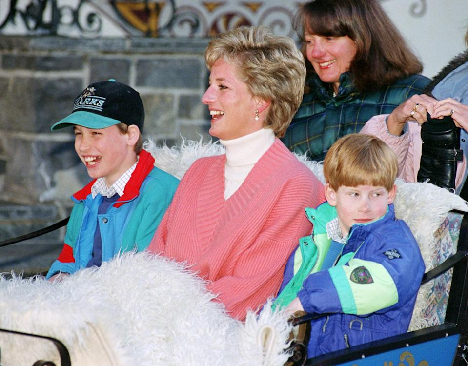 <p>Princess Diana had a laugh with sons William and Harry during a ski holiday, riding in a sleigh wearing a pink V-neck sweater over a white turtleneck.</p>