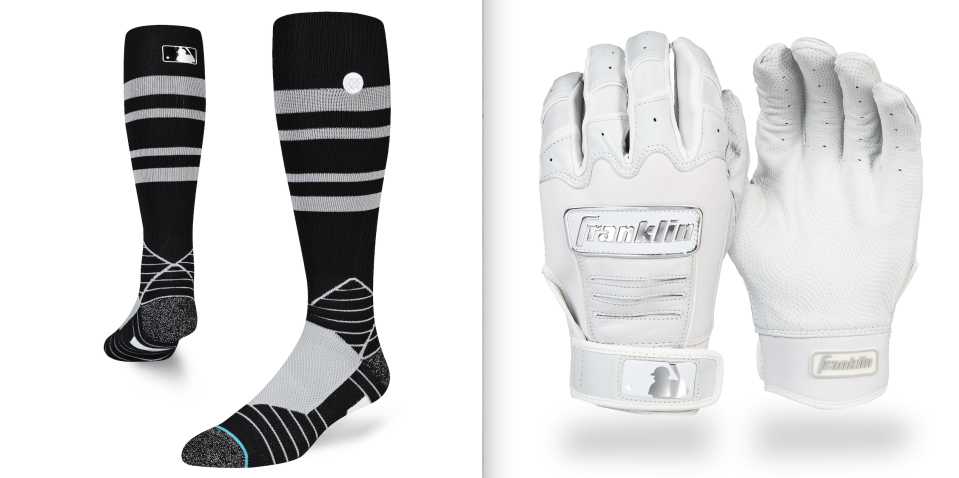 The black Stance socks will be worn with black uniforms on Players' Weekend. Teams wearing all-white uniforms will also wear white batting gloves. (Images via MLB)
