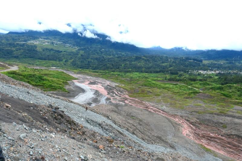 A view of tailings at Barrick Gold Corp's Porgera mine