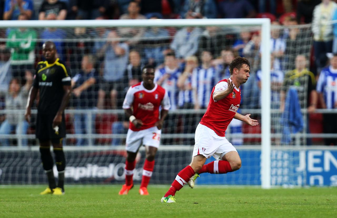 Rotherham's Lee Frecklington celebrates scoring during the Capital One Cup, First Round match at the New York Stadium, Rotherham.