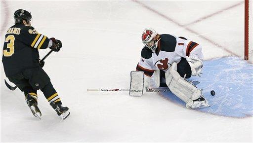 New Jersey Devils goalie Johan Hedberg, of Sweden, drops his stick to the ice as the puck slides between his pads on a goal by Boston Bruins left wing Brad Marchand (63) in a shoot out following overtime of an NHL hockey game in Boston, Tuesday, Jan. 29, 2013. Marchand's goal put the Bruins ahead, giving them a 2-1 shoot out win. (AP Photo/Charles Krupa)