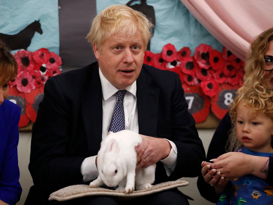 Boris Johnson, who used a rabbit at a school visit in 2019 election campaigning, derided 'bunny-huggers' (Getty Images)