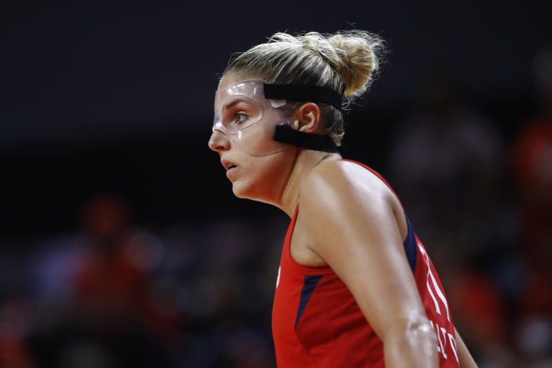 Washington Mystics forward Elena Delle Donne walks on the court in the first half of Game 1 of basketball's WNBA Finals against the Connecticut Sun, Sunday, Sept. 29, 2019, in Washington. (AP Photo/Patrick Semansky)
