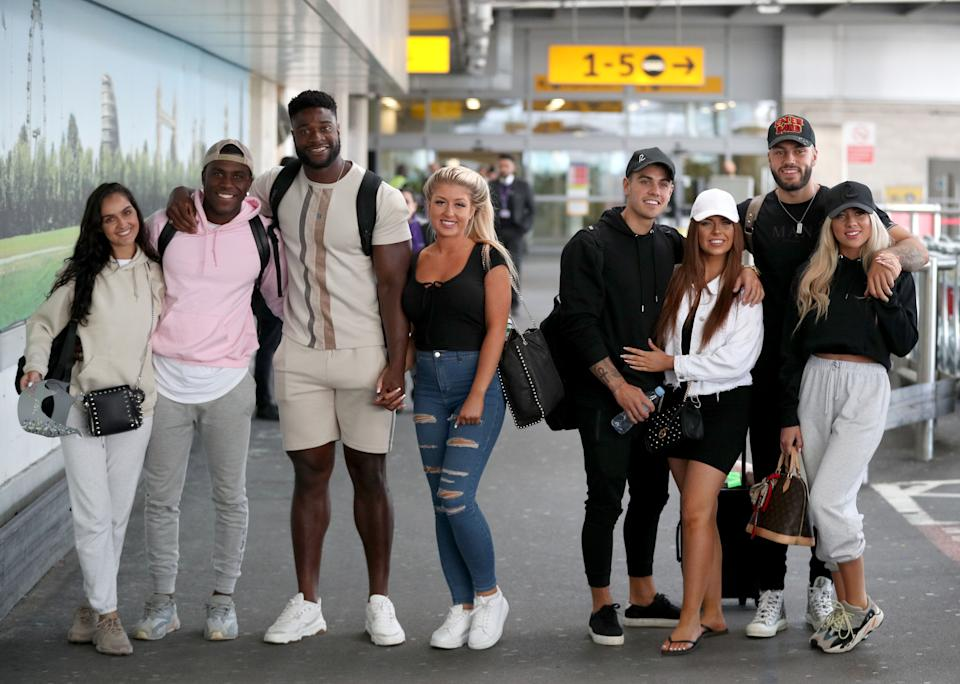 Love Island contestants at the airport