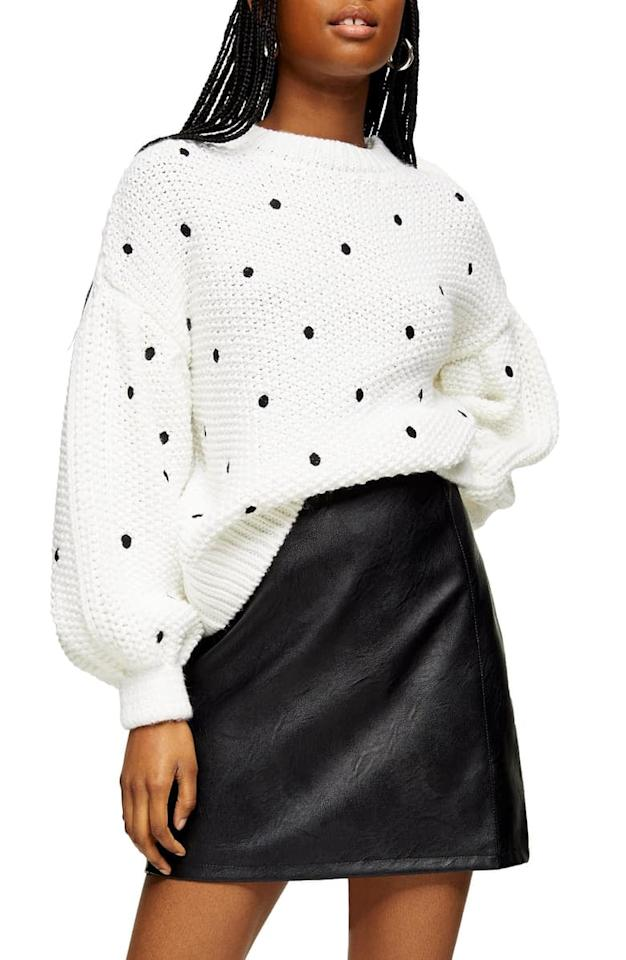 """<p>Wear this <a href=""""https://www.popsugar.com/buy/Topshop-Spot-Embroidered-Sweater-538663?p_name=Topshop%20Spot%20Embroidered%20Sweater&retailer=shop.nordstrom.com&pid=538663&price=75&evar1=fab%3Aus&evar9=47089187&evar98=https%3A%2F%2Fwww.popsugar.com%2Fphoto-gallery%2F47089187%2Fimage%2F47089463%2FTopshop-Spot-Embroidered-Sweater&list1=shopping%2Cnordstrom%2Cwinter%20fashion&prop13=api&pdata=1"""" rel=""""nofollow"""" data-shoppable-link=""""1"""" target=""""_blank"""" class=""""ga-track"""" data-ga-category=""""Related"""" data-ga-label=""""https://shop.nordstrom.com/s/topshop-spot-embroidered-sweater/5545314/full?origin=category-personalizedsort&amp;breadcrumb=Home%2FWomen%2FNew%20Arrivals&amp;color=ivory%20multi"""" data-ga-action=""""In-Line Links"""">Topshop Spot Embroidered Sweater</a> ($75) with jeans.</p>"""