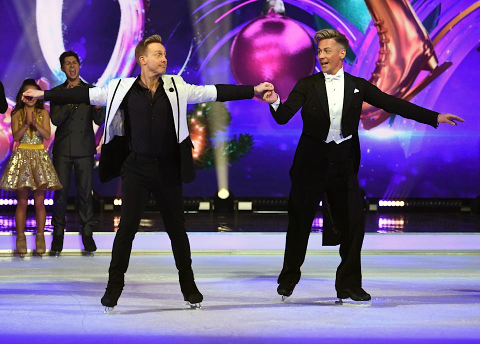 """Matt Evers (right) and Ian """"H"""" Watkins attending the Dancing on Ice 2020 launch held at Bovingdon Airfield, Hertfordshire. Photo credit should read: Doug Peters/EMPICS"""