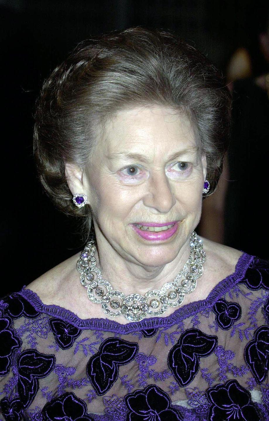 <p>Princess Margaret on her 70th birthday celebration at a ballet performance at London's Sadler's Wells Theatre.</p>