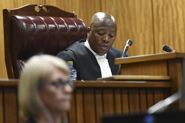 Jugde Aubrey Ledwaba listens in court during Oscar Pistorius' bail hearing at the North Gauteng High Court in Pretoria December 8, 2015. REUTERS/Herman Verwey/Pool