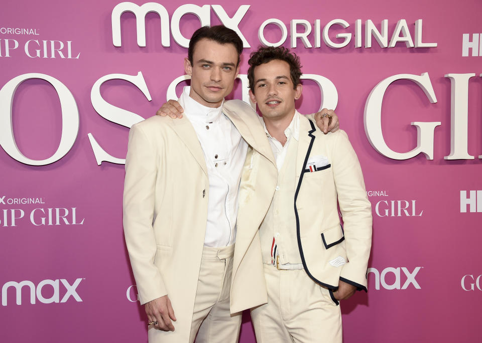 Actors Thomas Doherty, left, and Eli Brown pose together at the premiere of the new HBO Max television series