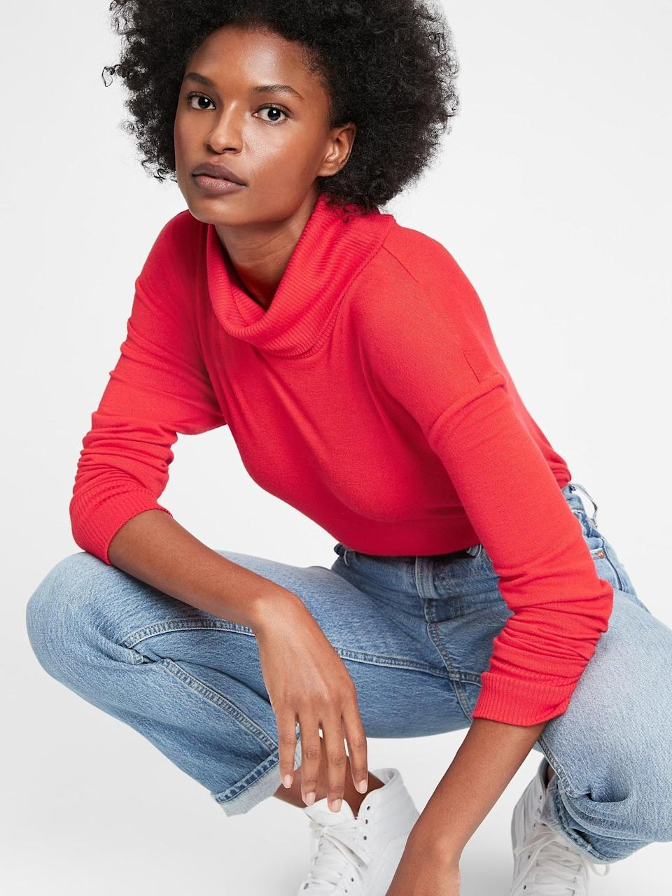 <p>This brilliant red <span>Gap Softspun Cowl-Neck Top</span> ($19, originally $60) is on sale for such a great deal and a turtleneck you'll appreciate for years to come.</p>