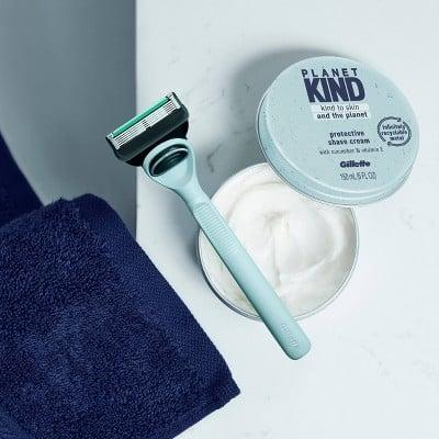 <p>Living sustainably doesn't just stop with your everyday makeup and skin-care products. The <span>Planet KIND by Gillette Protective Shave Cream</span> ($8) is a soothing, vitamin E-infused formula that's packaged in a recyclable aluminum tin so you can get a clean shave while saving the planet.</p>
