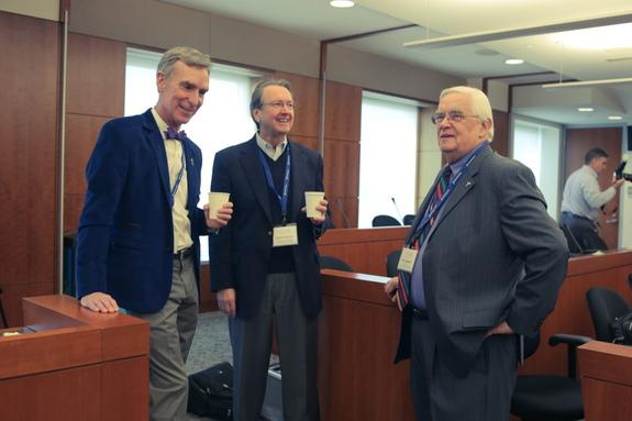 The Planetary Society hosted a press event today (April 2, 2015) to discuss a plan for NASA sending humans to Mars. The event panelists were (from left): Planetary Society CEO Bill Nye, and Scott Hubbard and John Logsdon, both members of the so