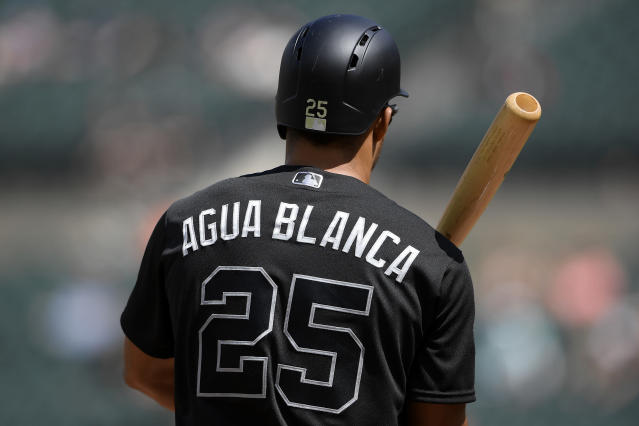 Baltimore Orioles' Anthony Santander stands on the field with his bat during the third inning of a baseball game against the Tampa Bay Rays, Sunday, Aug. 25, 2019, in Baltimore. (AP Photo/Nick Wass)