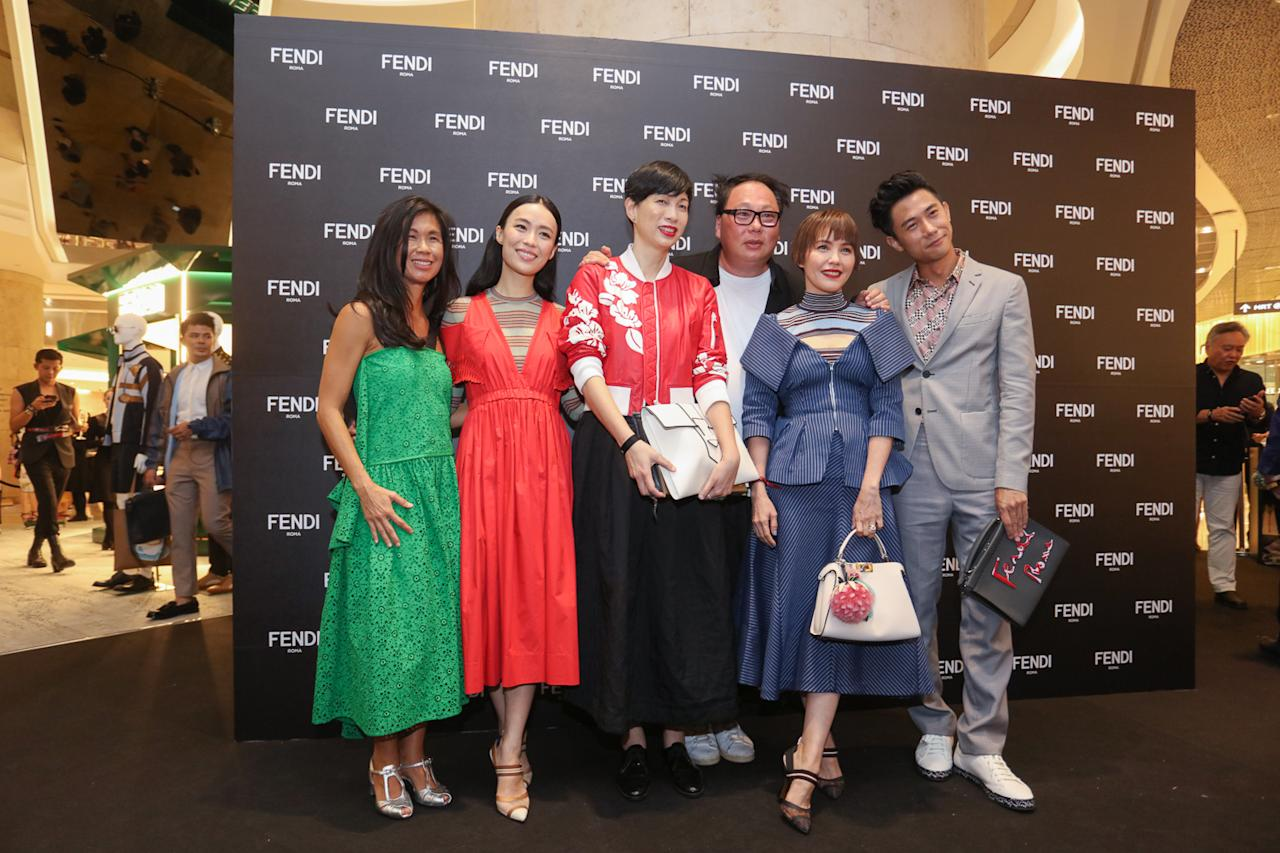 <p>Rebecca Lim, Zoe Tay and Desmond Tan posed with industry friends. (Photo: Don Wong) </p>