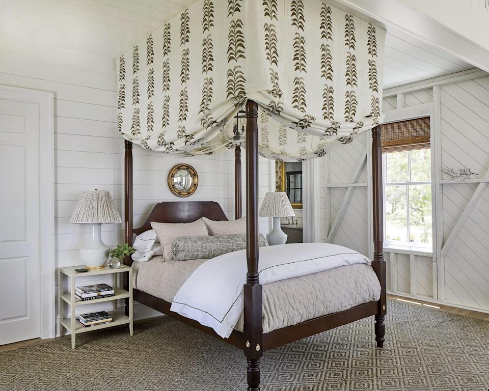"""<p>The perfect soothing hue for a bedroom, Sherwin-Williams Westhighland White (SW 7566) coats the walls, trim and ceiling in our <a href=""""https://www.southernliving.com/home/idea-houses/2019-idea-house-tour"""" rel=""""nofollow noopener"""" target=""""_blank"""" data-ylk=""""slk:Crane Island, Florida Idea House."""" class=""""link rapid-noclick-resp"""">Crane Island, Florida Idea House.</a></p>"""
