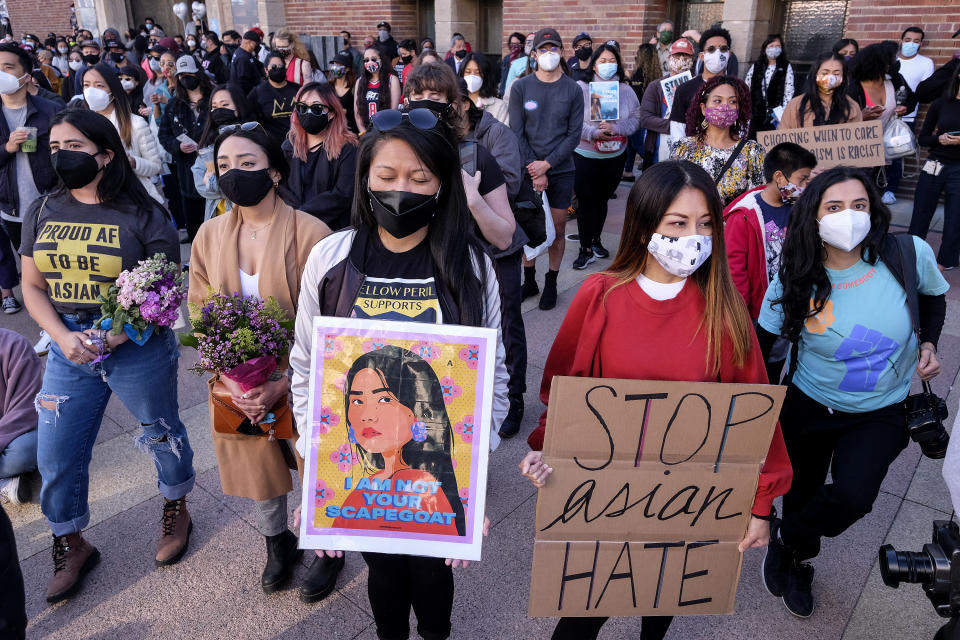 A scene from a rally to raise awareness of anti-Asian violence in Los Angeles on March 13. (Photo: RINGO CHIU/AFP via Getty Images)