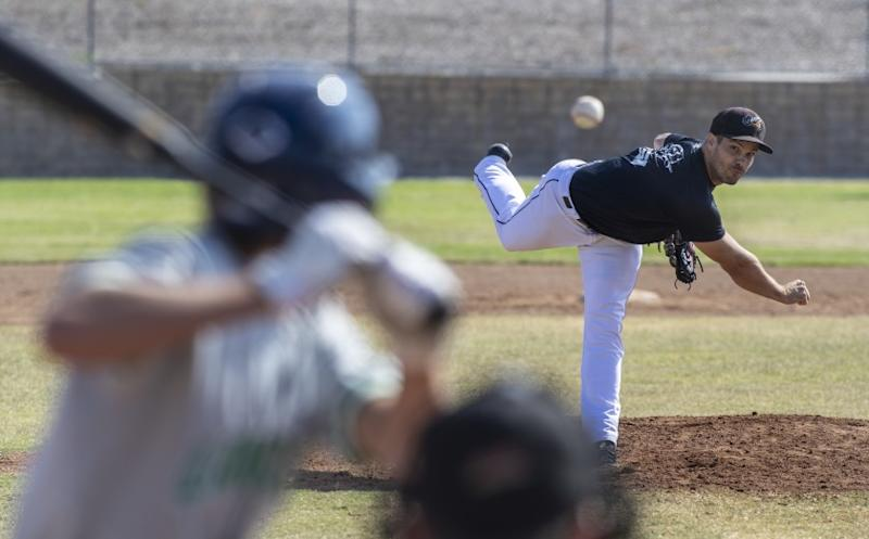 THOUSAND OAKS, CA - JUNE 27: Minor league pitcher Jeff Johnson pitches during a scrimmage with high school players at Waverly Park on Saturday, June 27, 2020 in Thousand Oaks, CA. (Brian van der Brug / Los Angeles Times)