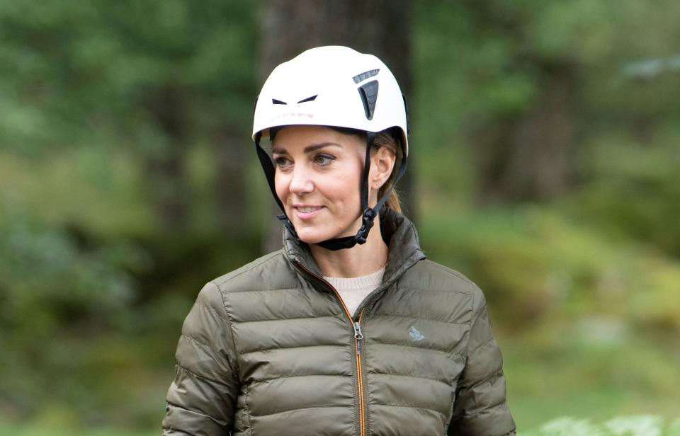 Britain's Catherine, Duchess of Cambridge takes part in abseiling as she visits the Windermer Adventure Training Centre with RAF Cadets, in Windermere, Cumbria, Britain, September 21, 2021. Andy Stenning/Pool via REUTERS - RC2DUP9AYOY4