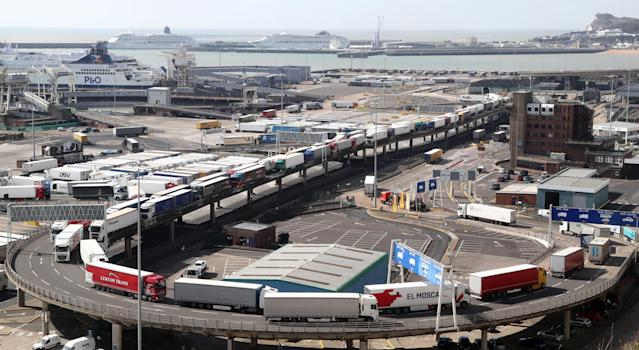 Freight lorries queue to leave the Port of Dover in Kent after arriving by ferry to deliver goods across the UK as the country continues in lockdown to help curb the spread of the coronavirus. (PA)