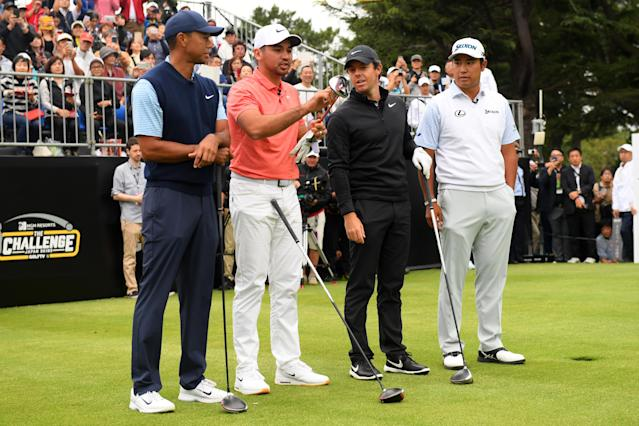 Tiger Woods, Jason Day, Rory McIlroy and Hideki Matsuyama. (Getty)
