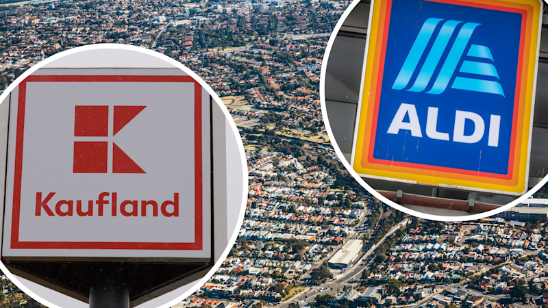 Pictured: Aldi logo, Kaufland logo, south Sydney. Images: Getty