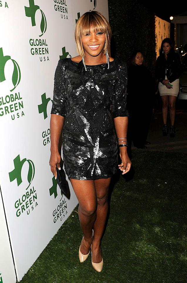 """Tennis phenom Serena Williams hit a glam slam in her sequined mini, complemented by elegant nails. Although her practice schedule is grueling, Venus' little sister recently <a href=""""http://globalgrind.com/channel/gossip/content/1382533/Serena-Williams-A-Professional-Nail-Technician/"""">blogged</a> that she manages to squeeze in a manicure every four days. Jason Merritt/<a href=""""http://www.gettyimages.com/"""" target=""""new"""">GettyImages.com</a> - March 3, 2010"""