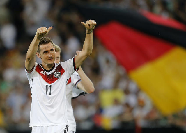 Germany's Miroslav Klose celebrates after a soccer friendly match between Germany and Armenia in the Coface Arena in Mainz, Germany, Friday, June 6, 2014. Germany won 6-1. (AP Photo/Michael Probst)