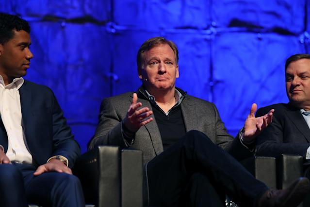 NFL commissioner Roger Goodell, wearing his work clothes, ran the 40-yard dash in NFL headquarters on Monday. (AP)