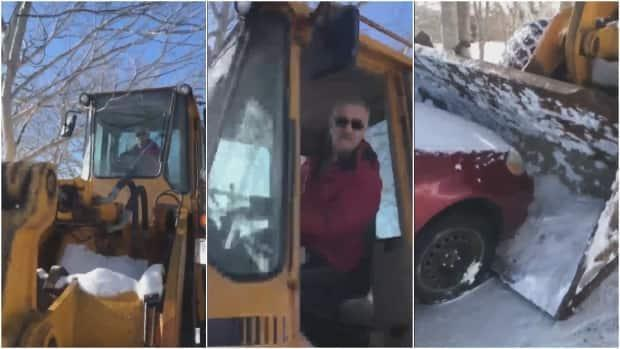 Screenshots from a video taken by Monk show his landlord, Robert Regular, in the driver's seat of a loader and pushing Monk's car with the bucket.
