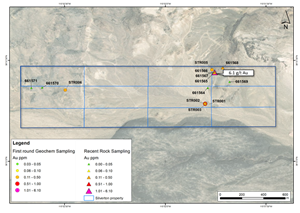 Silverton claim layout with northeast sampling showing 6.1 g/t gold from a surface sample