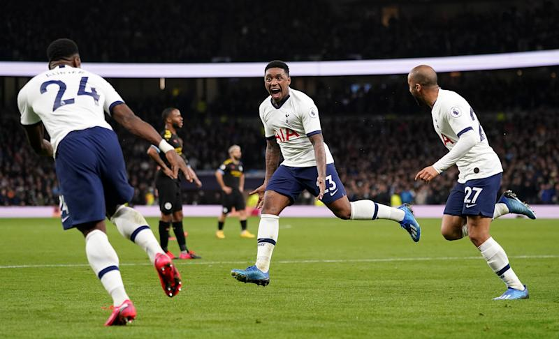 Steven Bergwijn (center) scored Tottenham Hotspur's winner Sunday against Manchester City on his debut for the club. (John Walton/Getty)