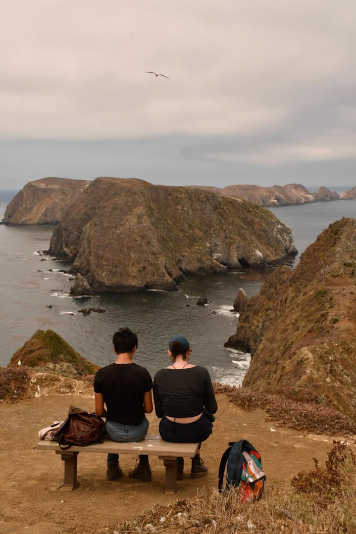 """The best view on Anacapa Island, part of Channel Islands National Park, may be from Inspiration Point, which faces the island's middle and western islets. <span class=""""copyright"""">(Christopher Reynolds / Los Angeles Times)</span>"""