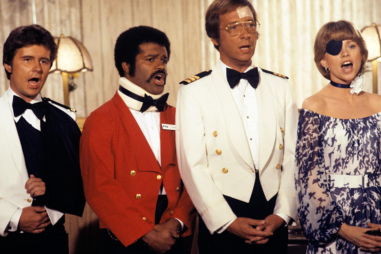"Fred Grandy, Ted Lange, Bernie Kopell, and Lauren Tewes in ""The Love Boat"" episode, ""Identical Problem/Julie's Old Flame/The Jinx."""