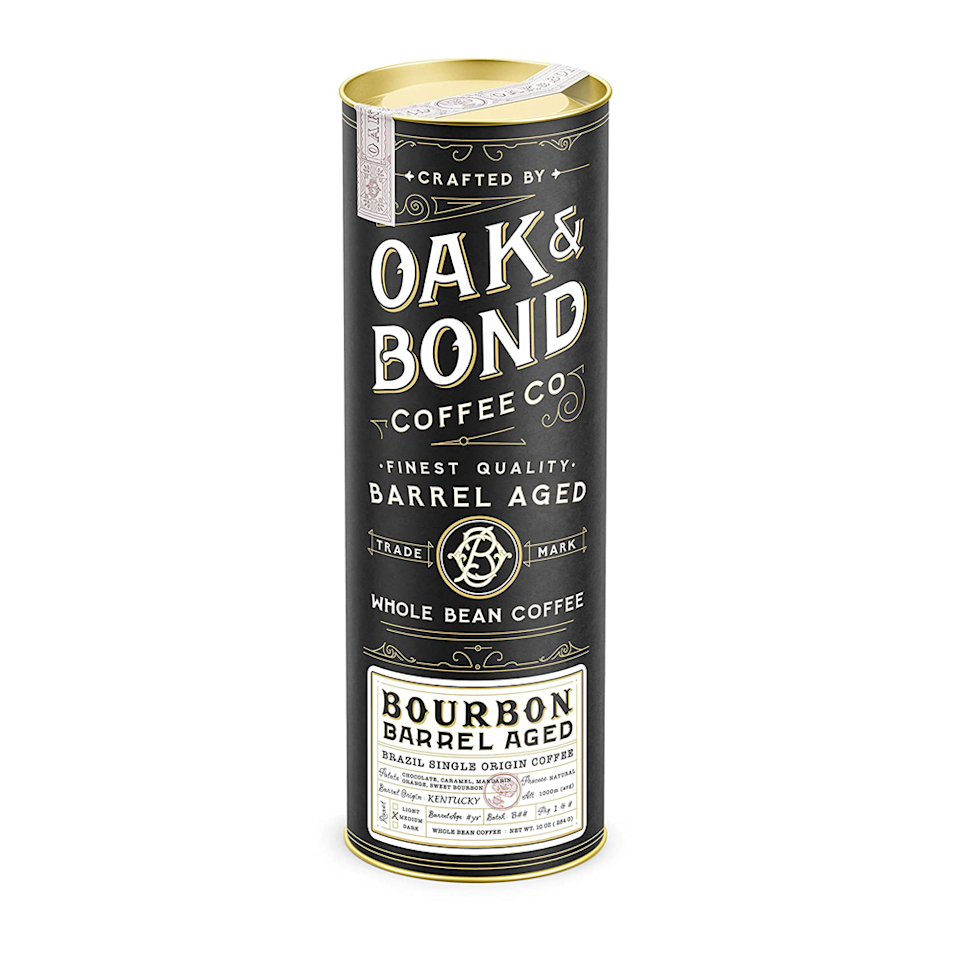 "<p><strong>Oak & Bond Coffee Co.</strong></p><p>amazon.com</p><p><strong>$25.95</strong></p><p><a href=""https://www.amazon.com/dp/B07DNPSGLR?tag=syn-yahoo-20&ascsubtag=%5Bartid%7C10063.g.34824733%5Bsrc%7Cyahoo-us"" rel=""nofollow noopener"" target=""_blank"" data-ylk=""slk:BUY IT HERE"" class=""link rapid-noclick-resp"">BUY IT HERE</a></p><p>Combine rich chocolate, caramel, and Mandarin orange coffee notes with the sweet oak of aged bourbon barrels and you end up a robust, satisfying cup of coffee. The premium packaging makes this coffee exquisite for gifting purposes.</p>"