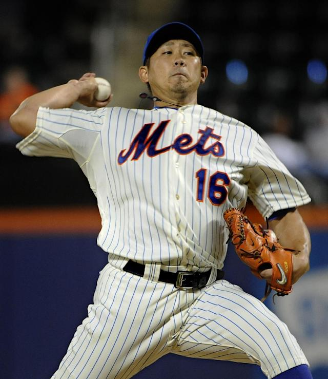 New York Mets starting pitcher Daisuke Matsuzaka throws against the Miami Marlins in the second inning of Game 2 of a baseball doubleheader at Citi Field, Saturday, Sept. 14, 2013, in New York. (AP Photo/Kathy Kmonicek)