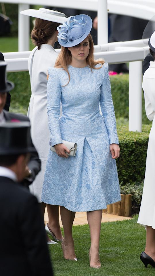 <p>Meanwhile her sister Beatrice went for a powder blue frock by Clare Michevani,a Jules Millinery hat and nude Kurt Geiger heels. Photo: Getty </p>