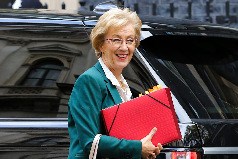 Andrea Leadsom, Secretary of State for Business Energy and Industrial Strategy arrives at Downing Street to attend the weekly cabinet meeting before the European Union summit on 17 and 18 October. The European Council will discuss a number of important issues, including Brexit. (Photo by Steve Taylor / SOPA Images/Sipa USA)