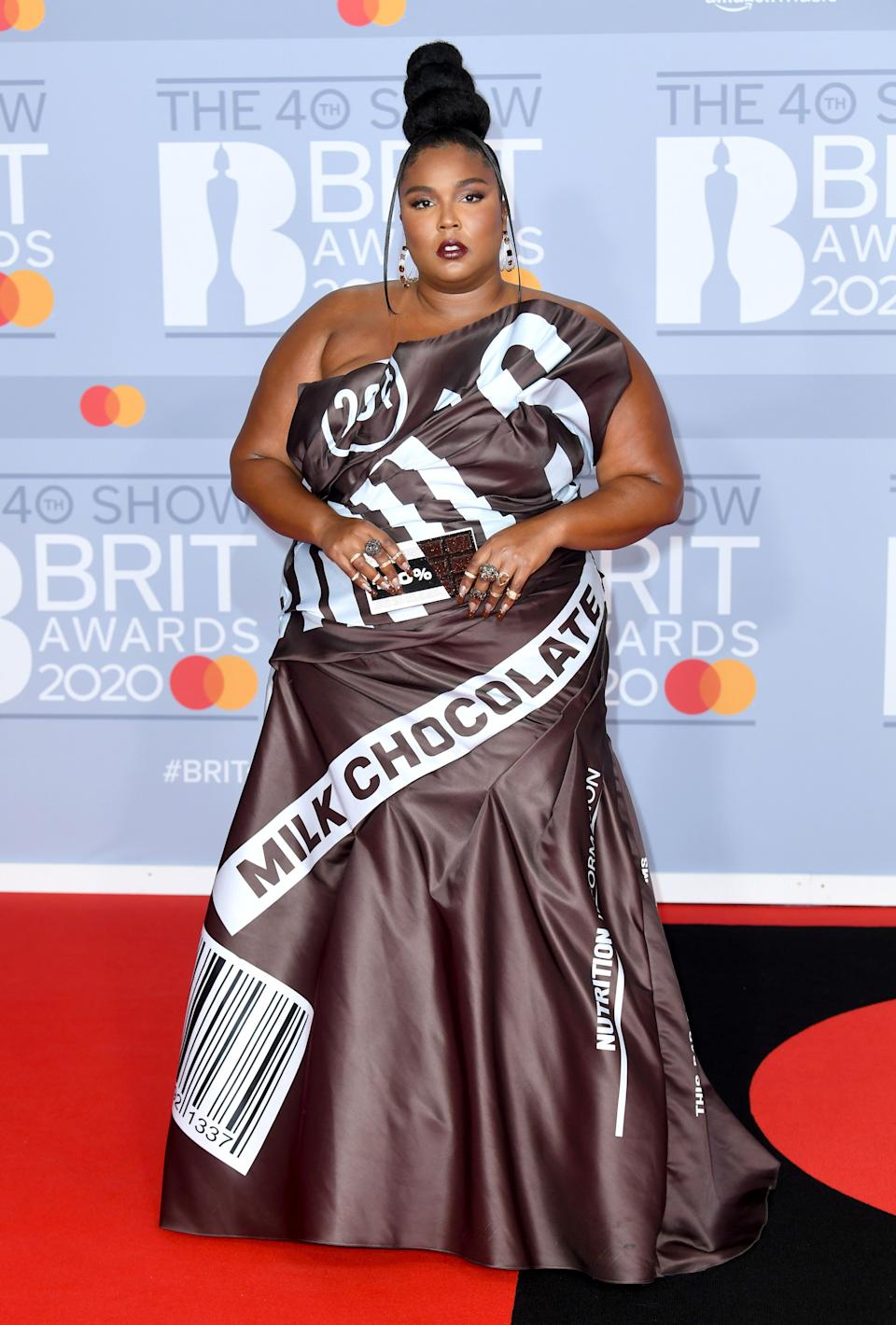 Lizzo arrived at the Brit Awards in a chocolate wrapper  (Photo: Doug Peters/EMPICS Entertainment)