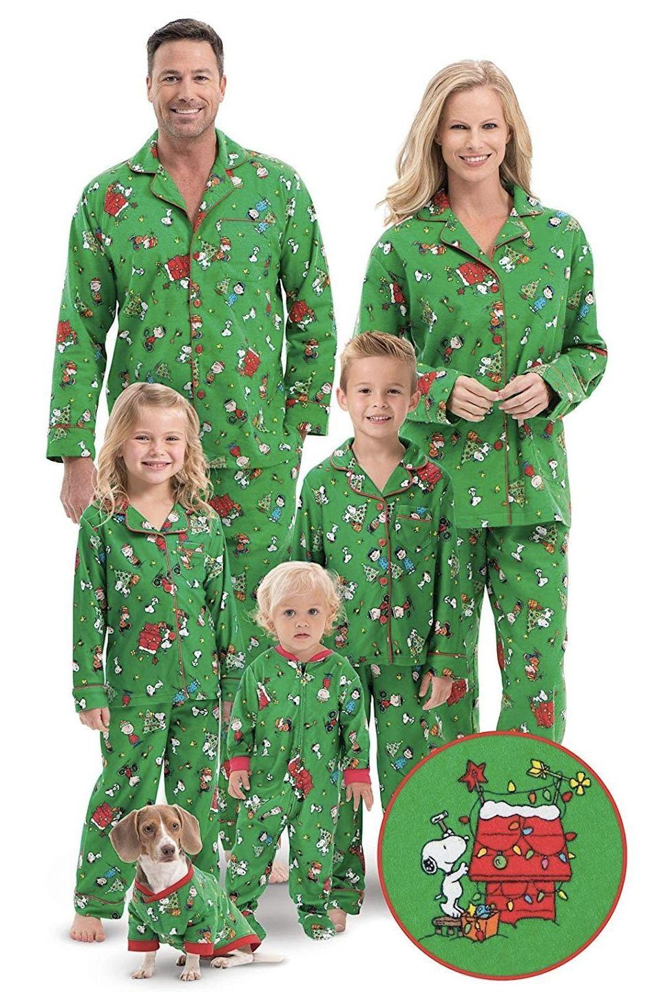 """<p><strong>PajamaGram</strong></p><p>Starting from $18</p><p><a href=""""http://www.amazon.com/dp/B00SCBTV3G/?tag=syn-yahoo-20&ascsubtag=%5Bartid%7C10055.g.4946%5Bsrc%7Cyahoo-us"""" rel=""""nofollow noopener"""" target=""""_blank"""" data-ylk=""""slk:Shop Now"""" class=""""link rapid-noclick-resp"""">Shop Now</a></p><p>Include members of the family of every size — and species — with these pajamas decked out with scenes from <em><a href=""""https://www.amazon.com/Charlie-Brown-Christmas-Ann-Altieri/dp/B001K2JE9K/?tag=syn-yahoo-20&ascsubtag=%5Bartid%7C10055.g.4946%5Bsrc%7Cyahoo-us"""" rel=""""nofollow noopener"""" target=""""_blank"""" data-ylk=""""slk:A Charlie Brown Christmas"""" class=""""link rapid-noclick-resp"""">A Charlie Brown Christmas</a></em>. Your infant and pooch may not appreciate the theme as much, but everyone who sees them will.</p>"""