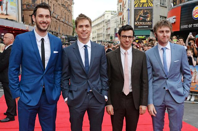 """(L to R) Blake Harrison, Joe Thomas, Simon Bird and James Buckley attend the World Premiere of """"The Inbetweeners 2"""" at Vue West End on August 5, 2014 in London, England. (Photo by Dave M. Benett/WireImage)"""