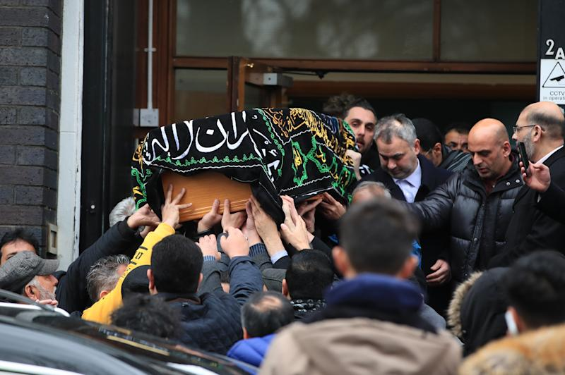 The coffin of 17-year-old Yousef Makki from Burnage, is carried from the Dar Al Hadi Foundation, in Manchester, following his funeral service. The teenager was stabbed to death in Hale Barns, near Altrincham on Saturday March 3. (Photo by Peter Byrne/PA Images via Getty Images)
