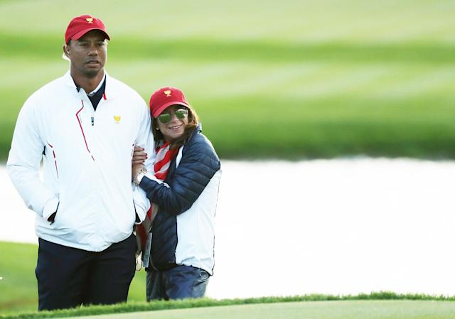Tiger Woods and Erica Herman at the Presidents Cup golf tournament in New Jersey. (Photo: Rob Carr/Getty Images)