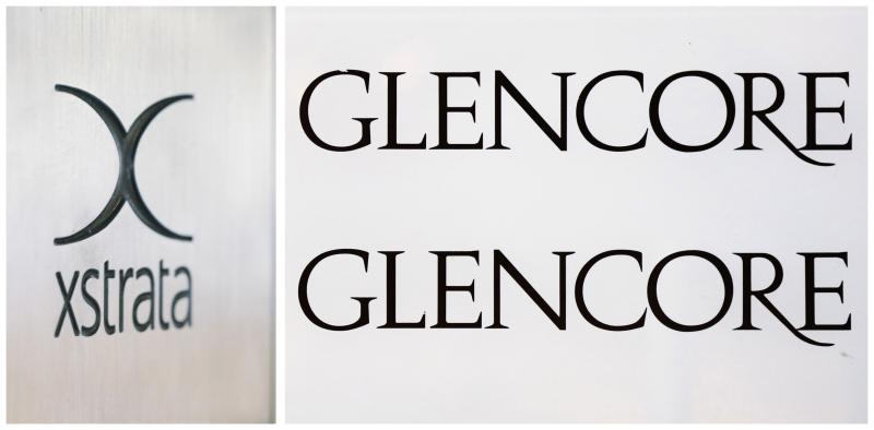 Combination photo shows the logos of Glencore and Xstrata at their headquarters in Zug