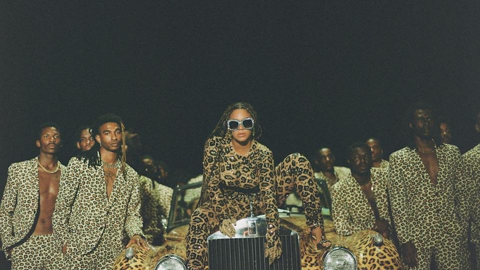 <p>Beyoncé wears a glittering leopard-print catsuit by Valentino, heels by Christian Louboutin, and studded sunglasses by A-Morir. </p>