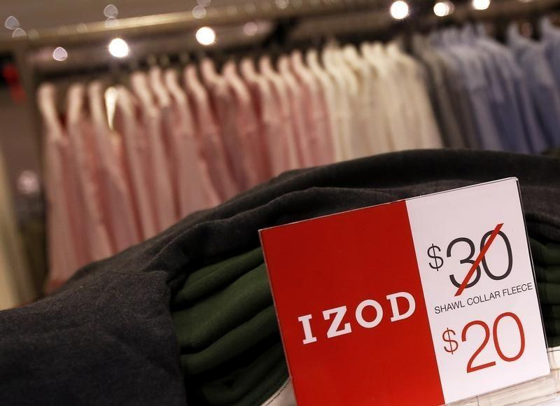 Price markdowns are seen in the Izod section at the J.C. Penney Herald Square department store location is seen in New York