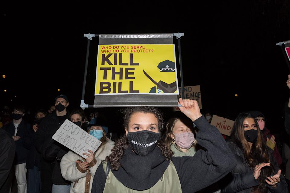 LONDON, UNITED KINGDOM - MARCH 16, 2021: Protesters demonstrate in Parliament Square against the passage of a new policing bill in the House of Commons, which would give police new powers to restrict protests and impose tough sentences for breaking the rules, and to highlight the issue of violence against women, on 16 March, 2021 in London, England. The recent protests were sparked by the Met Polices heavily criticised handling of a vigil held in memory of murdered Sarah Everard in Clapham Common at the weekend amid an ongoing debate on women's safety in public spaces. (Photo credit should read Wiktor Szymanowicz/Barcroft Media via Getty Images)