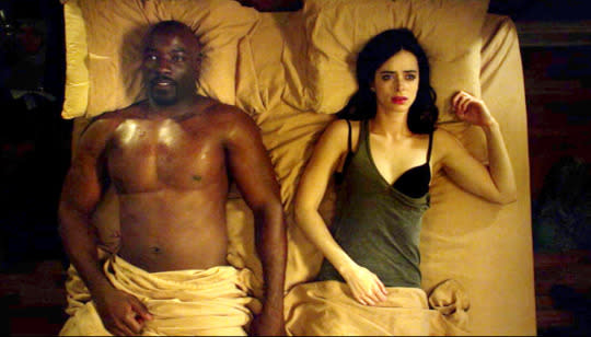 """<p>Here's how you know that <i>Jessica Jones </i>is unlike any other superhero series made to date: In its very first episode, it dared to take the action into the bedroom. Unaware that they're both """"gifted,"""" super-strong Jessica Jones (Krysten Ritter) and super-tough Luke Cage (Mike Colter) did the horizontal mambo and got the audience all hot and bothered. """"It's OK, I won't break,"""" Jessica says at one point, leading Luke to reply, """"Yeah, you will."""" As far as meet-cutes go, this one was super. — <i>EA</i> </p><p><i>(Credit: Netflix)</i></p>"""