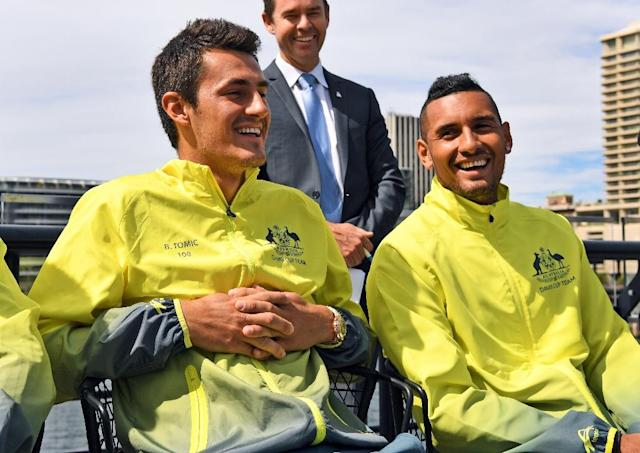 Teammates, now rivals at the French Open: Bernard Tomic and Nick Kyrgios (AFP Photo/WILLIAM WEST)